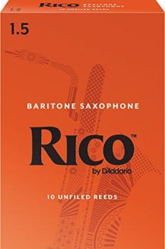 Rico Baritone Saxophone Reeds, Strength 1.5, 10-pack (RI-RLA1015)