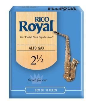 Rico Royal Alto Saxophone Reeds, Strength 2.5, 10-pack (RI-RJB1025)