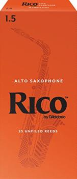 Rico Alto Saxophone Reeds, Strength 1.5, 25-pack (RI-RJA2515)